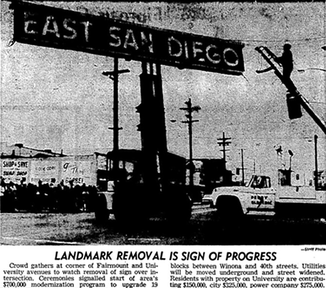 East San Diego sign coming down in January 1968 (SDUT).
