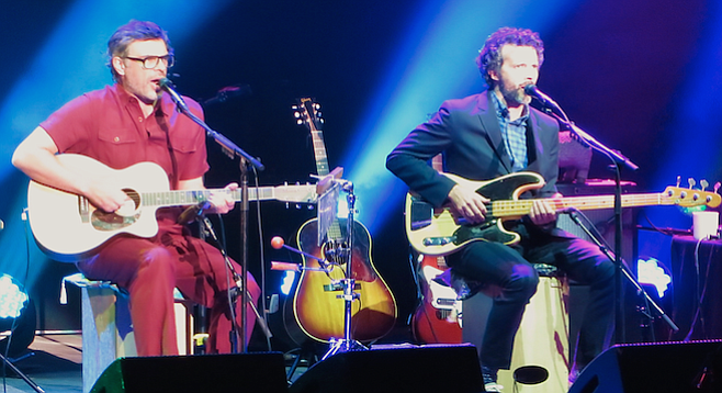 """Among the dressing-room indulgences, Flight of the Conchords owned up to """"drugs — cold and flu drugs."""""""
