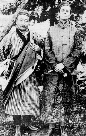 Lama Kazi Dawa-Samdup and Evans-Wentz, Gangtok, Sikkim, c. 1920. Evans-Wentz spent more than twenty years between the world wars ranging around holy spots in India, mostly in mountainous areas — Kashmir, central Ceylon, and Darjeeling-Sikkim.