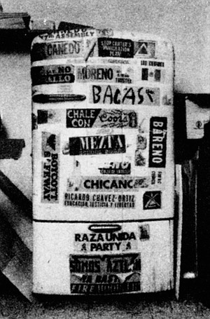 Baca's fridge. Baca belongs to an unofficial party that exists only in name: La Raza Unida.