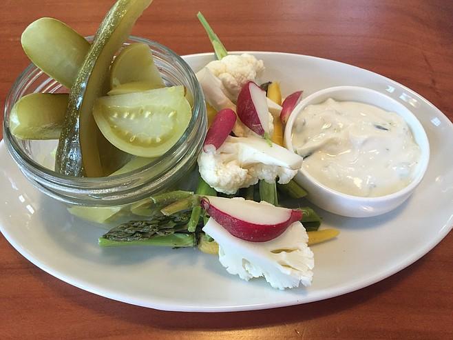 Housemade pickles and fresh veggies with raita yogurt sauce