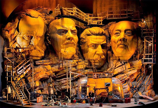 The current Bayreuth production of Siegfried featuring the Mount Rushmore of communism.