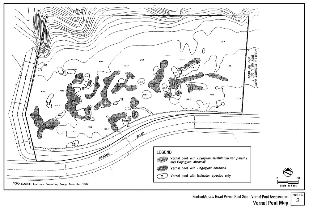 Dudek and Associates map. It's unrealistic to assume, Haase insists, that his staff would know where every vernal pool map is, especially if the maps are not kept up to date.