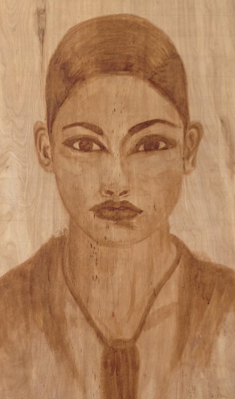 A coffee-painted portrait by Industrial Grind cofounder Barbara Jeanine.