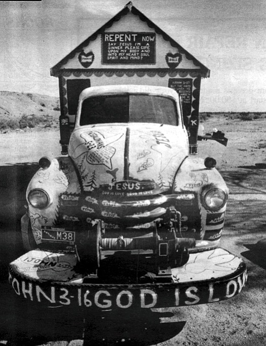 Leonard, the Preacher, lives in a camper that he has decorated to look something like a gypsy wagon.