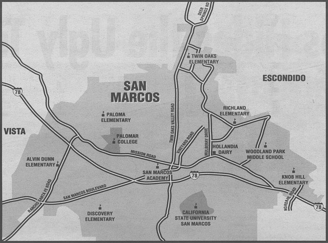 Nordahl Road marks the easternmost boundary of what seems like San Marcos and not Escondido. Rancho Santa Fe Road marks the difference between Vista to the west and San Marcos.