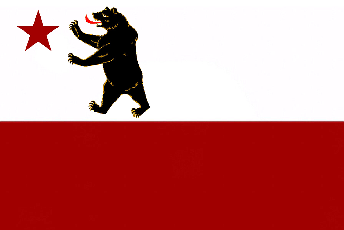 California's official seal and flag (which, interestingly enough, in its first iteration [pictured] shows the grizzly walking upright)