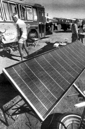 An enterprising young man, working out of an old bus, has cornered the solar panel market.
