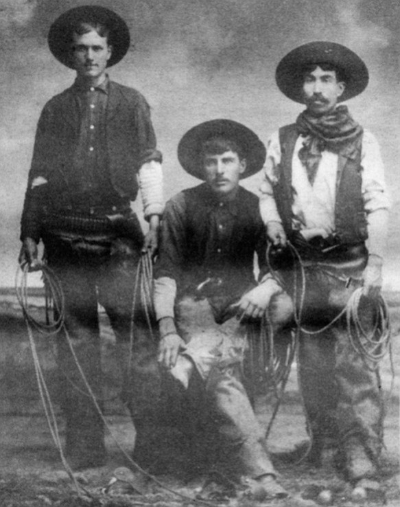 "Archie Chillwell, George Cameron, Manuel Taylor, 1904. ""The Chilwells had lived down in the Tijuana Valley, and the border was allus kinda fuzzy."""