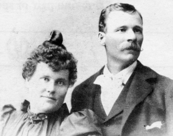 "Mr. and Mrs. George McCain, 1895. ""At one time they didn't know whether the McCains or the red ants was gonna take this country."""