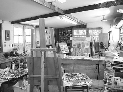 We sit in the unfinished studio, husband and wife, on afternoon coffee break.