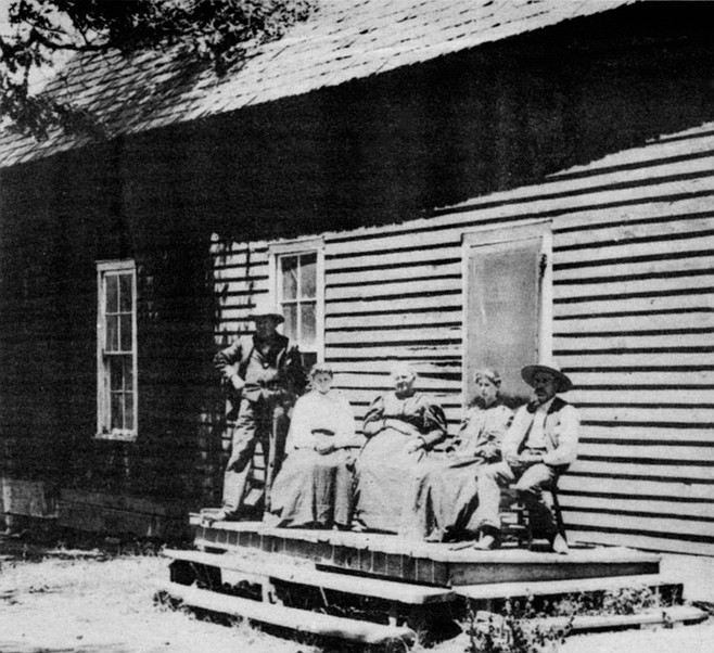 At the Stonewall Hotel, Cuyamaca, 1895: E.G. Martin (grandfather), Wilda Hackleman, Mrs. E.G. Martin (grandmother), Josephine Martin (mother), W.T. Martin (father)