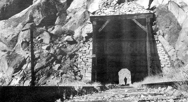 Carrizo Gorge. The menacing tunnels are still there, with their long-deserted railroad bridges and their mass of enmeshed girders.