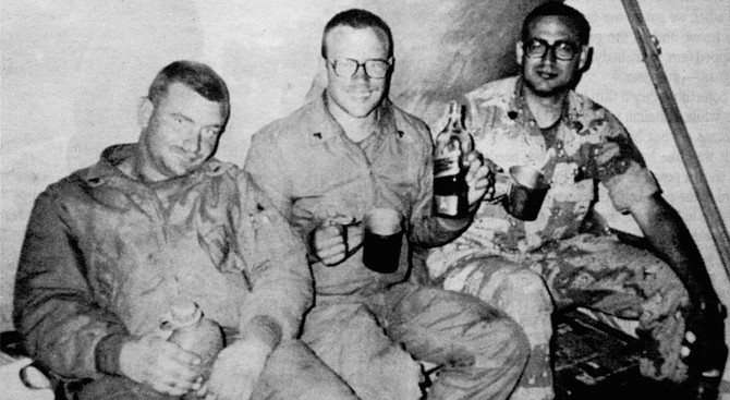 B-Company men after end of war, with contraband alcohol