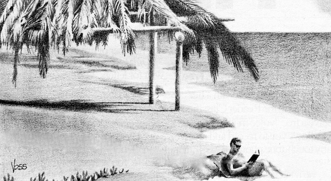 Illustration of a tourist relaxing on the beach