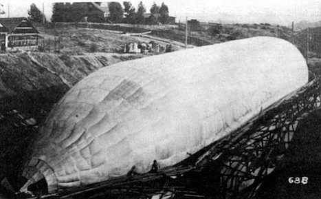 Toliver's work force built a hangar over the Golden Hill canyon and dammed the canyon at C Street so the gasbag could be inflated submerged in water