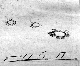 Drawing by anonymous eyewitness. The UFO researcher told her wearily that she was probably seeing Venus and Jupiter.
