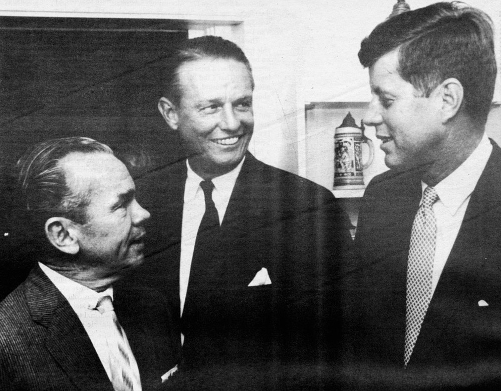 Mckinnon with Jack Vietor (San Diego Magazine founder) and John F. Kennedy, c. 1960. McKinnon's political leanings were populist-Democrat.