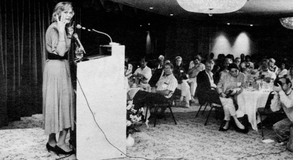 Wilkening speaking at Libertarian Party Supper Club, September, 1991. I couldn't have known that the budget of the Homicide Task Force would be used to track me down halfway around the world.
