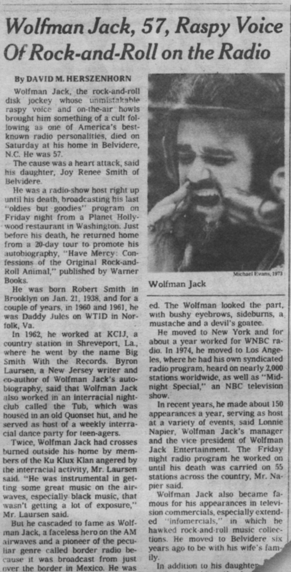 Wolfman Jack obit in the New York Times, July 3, 1995