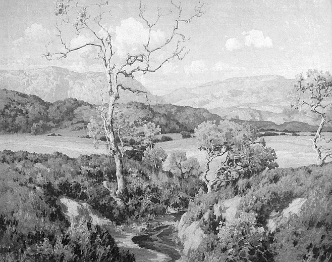 Maurice Braun landscape.  Braun is identified as San Diego's first artist because his images of the rural areas were often exhibited in Los Angeles and New York City.