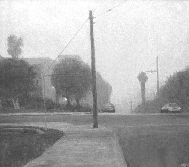 Dove Street by Wade Cline. There are two light sources — one from the mist-clad taillights, the other from a porch light just visible behind a tree.