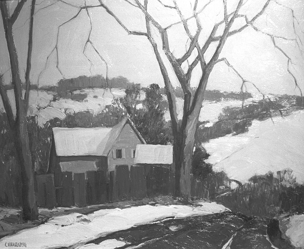 """Early Snowfall, Cuyamaca by George Spangenberg. """"He had an alcohol habit and paid off his bar bills  in paintings."""""""