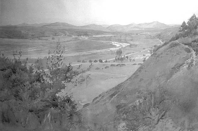 Mission Valley from Mission Cliff Gardens by George Pearce. A 1922 view of an alfalfa field, a graded road that is today's Texas Street, and views of the San Diego River, all of it nestled before Cowles Mountain.
