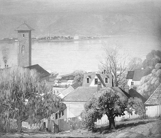 Morning on the Bay by Alfred Mitchell.  It's a wonderful view from Seventh Street between Cedar and Date, past the spire of St. Joseph's Church, toward North Island and what appears to be a smog-trapped Point Loma.
