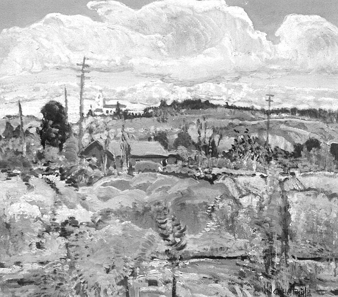 Near Old Town by Charles Reiffel. Telephone poles, a squat red house, and the Presidio on a mid-distant hill.