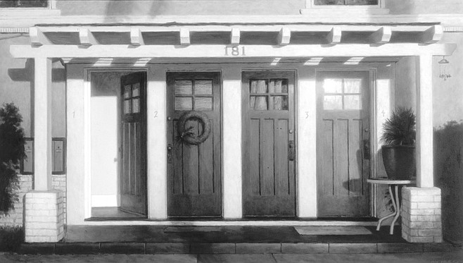 Portico by William Glen Crooks. In Coronado one day, after lunch with a friend, he went into a CD shop while his friend waited outside on a bench.