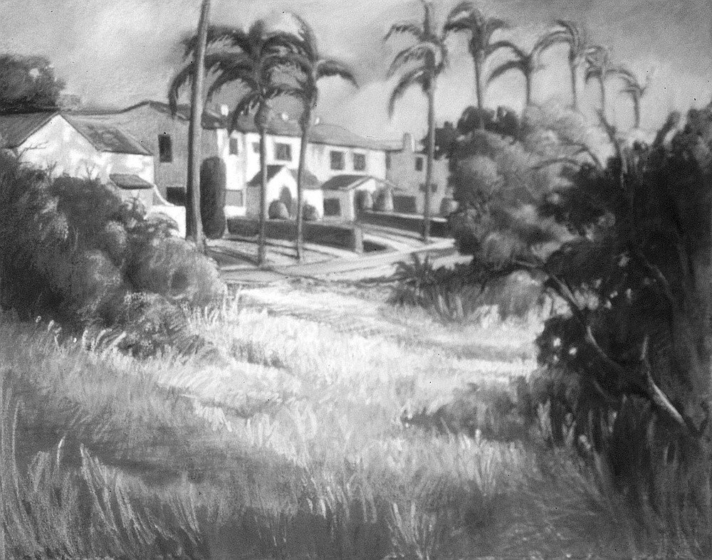 Morning Shadows on Redwood Street by Ken Goldman. Palms line a skinny street before several Spanish-tile-roofed homes.