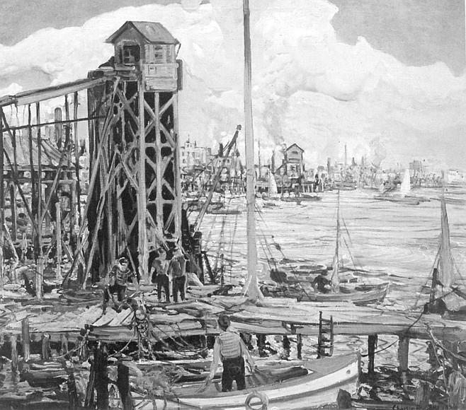 San Diego Waterfront by Charles Reiffel. The harbor, teeming with activity, ropelines, docks, ladders, piers, masts, the smoke of fires.