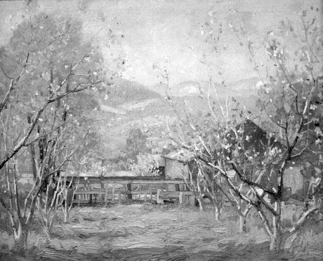 Springtime in the Orchard by Alfred Mitchell, an impasto-rich impression of a cozy Lakeside farm in bloom.