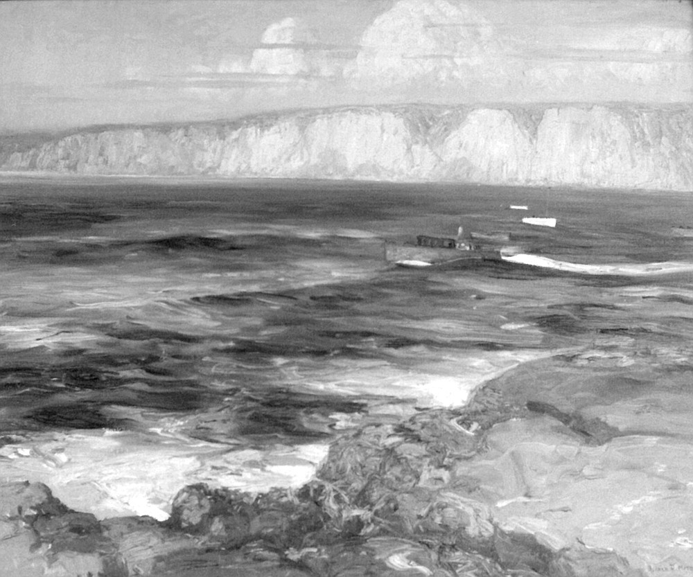 Summer Sea by Alfred Mitchell, a dramatic view of the white cliffs above Black's Beach seen from La Jolla Cove.
