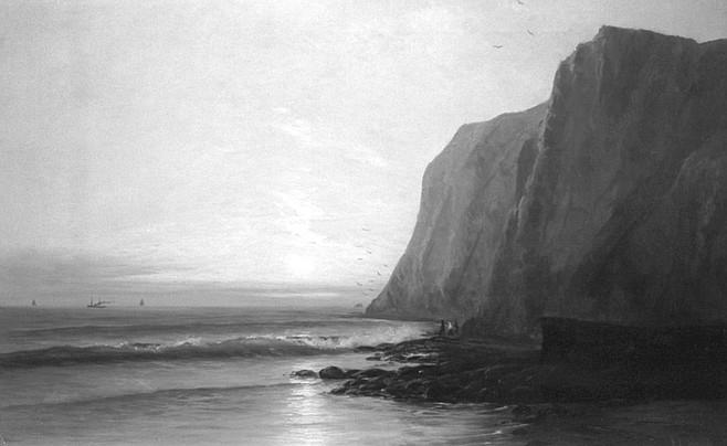 Sunset Near La Jolla by F.L. Heath shows Black's Beach and a grand romantic beyond, a come-to-Jesus sunset, washed in carmines.