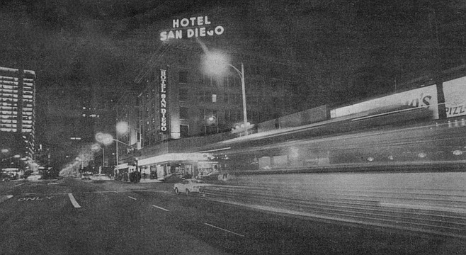 Despite its age (built in the early 1900s by John D. Spreckels) and surroundings, the Hotel San Diego is a comparatively tenable abode.