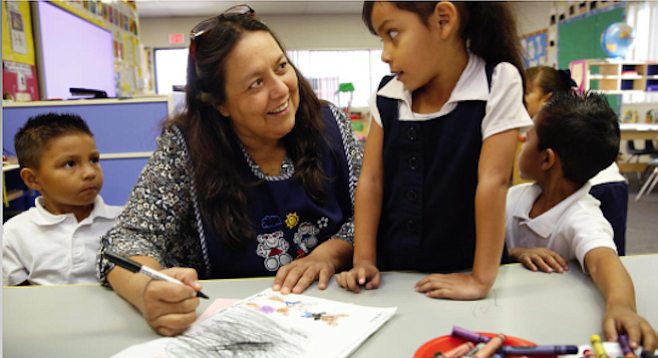 A San Ysidro School District teacher and her students