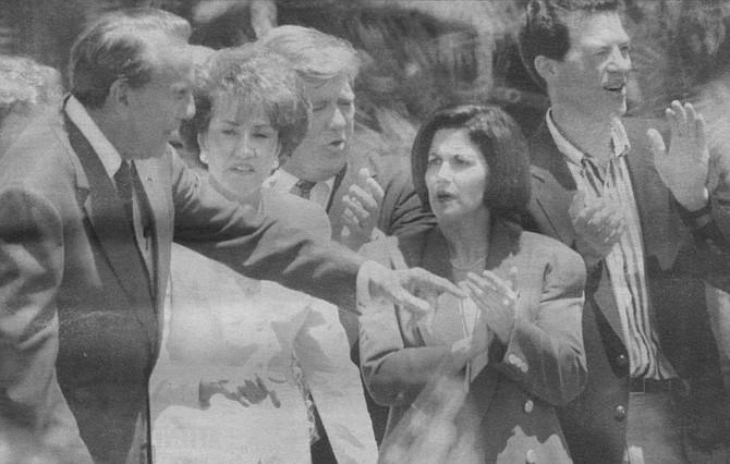 Mayor Golding with Bob and Elizabeth Dole, summer of 1996 - Image by Joe Klein