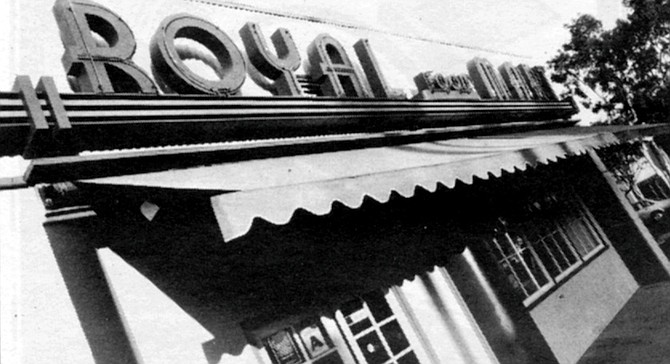 """Royal Food Mart. Old black-and-white photos from Agua Caliente and cigarette ads from advertising's Social Register period (""""Mrs. Alison Boyer — another Camel enthusiast"""") round out the decor."""