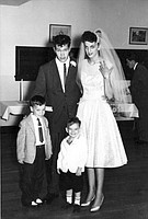 """That's me on the lower left at around 5-years-old crashing the wedding of a couple of greasers. Pretty snazzy, huh? The outfit is similar to what I wore to the McVicker's for  """"Brothers Grimm"""" in CInerama."""