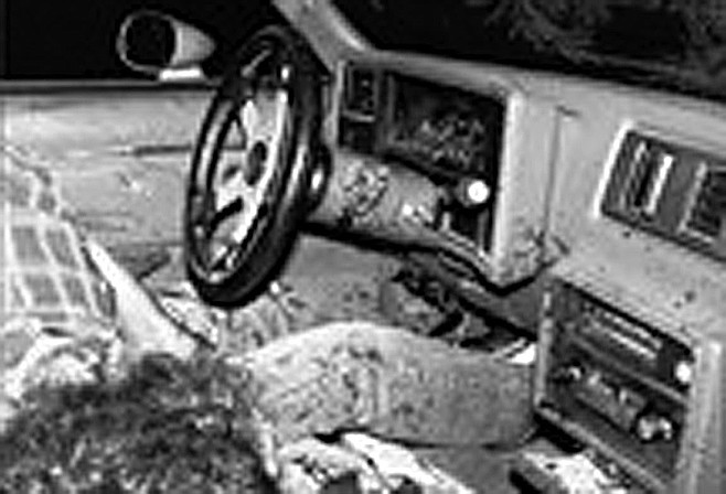 John Harper, Jr., dead in his El Camino. Eight of the 13 shots Palm fired traveled through Harper's body.