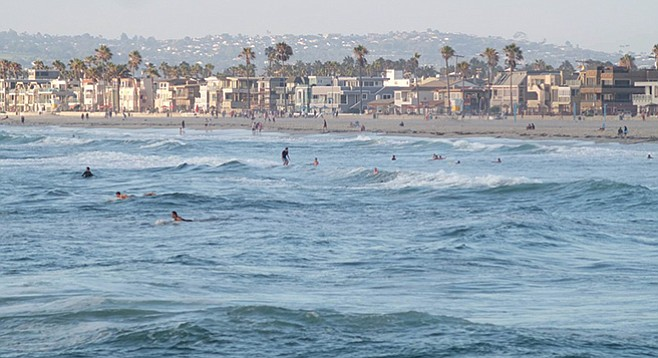 Mission Beach surfers/waves