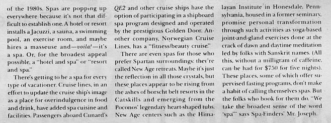 Deborah Szekely, in Avenue magazine, December, 1989