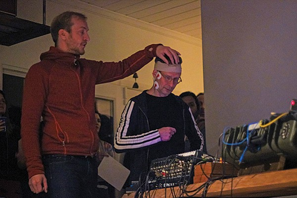 Dr. Stephen Whitmarsh (left) created software to convert EEG signals into audio samples.