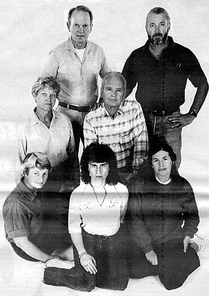 Front row: Claire Brey, Rosemary Nugent, Karen Rudd; middle row: Betty Conklin, Glen Conklin; top row: Dick Schwenkmeyer, Bob Rudd; missing: Verle Schwenkmeyer