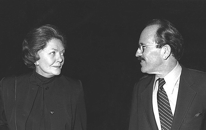 Helen Copley and Richard Silberman. A reporter at Copley's Evening Tribune accused her of spiking parts of a story about Silberman's ownership of Old Town's Bazaar del Mundo and his role at the Department of Alcoholic Beverage Control.