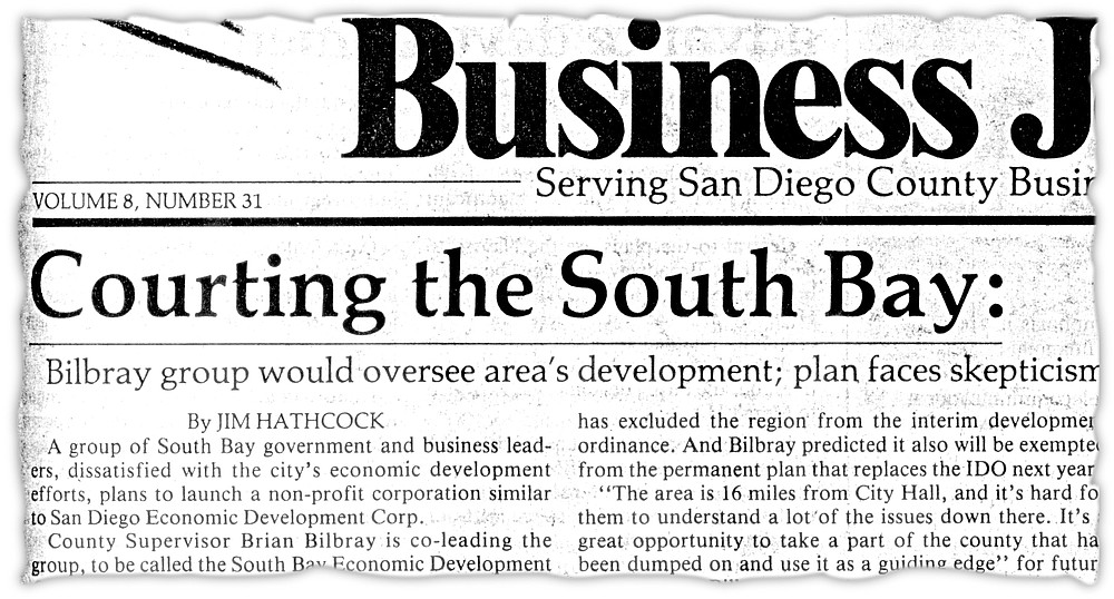 From San Diego Busness Journal, February 29, 1988. Joe Ellis told the newspaper about his own dream for Otay Mesa.