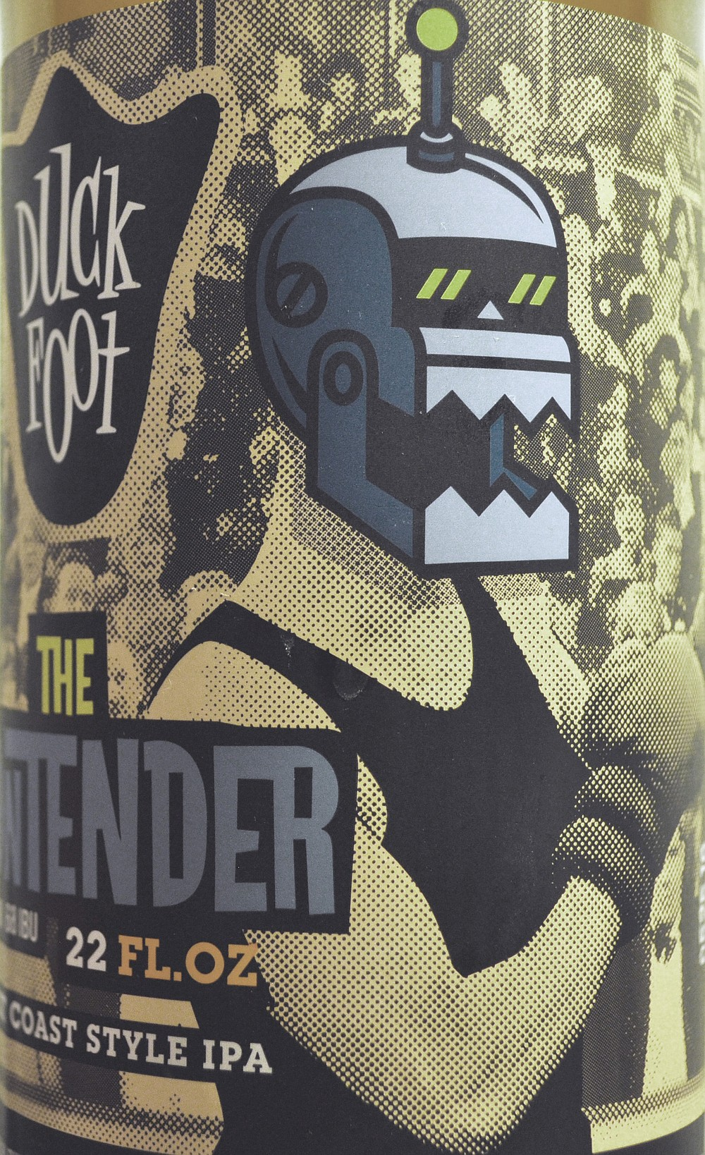 A cartoon robot head on a vintage boxer photo helps Duck Foot's IPA stand out on store shelves.