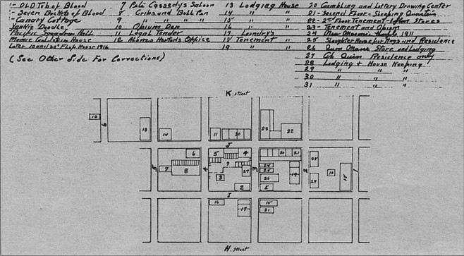 Map of Chinese quarter, 1912.  Sharing the neighborhood with Seven Buckets of Blood and the Old Tub of Blood were the fan-tan (a counting game played with beans or coins and a bamboo stick) and lottery houses run by Chinese.